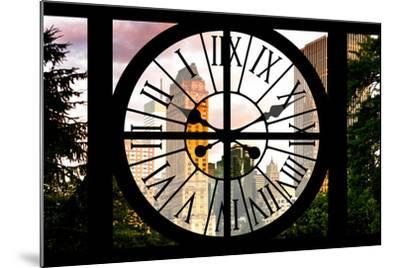 Giant Clock Window - View of Central Park Buildings at Sunset IV-Philippe Hugonnard-Mounted Photographic Print