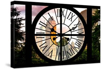 Giant Clock Window - View of Central Park Buildings at Sunset IV-Philippe Hugonnard-Stretched Canvas Print