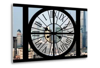 Giant Clock Window - View of Downtown Shanghai - China-Philippe Hugonnard-Metal Print