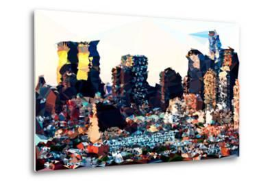 Low Poly New York Art - Hell's Kitchen Buildings-Philippe Hugonnard-Metal Print