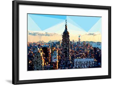 Low Poly New York Art - Skyline Sunset-Philippe Hugonnard-Framed Art Print