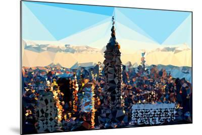 Low Poly New York Art - Skyline Sunset-Philippe Hugonnard-Mounted Art Print