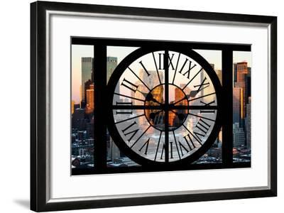 Giant Clock Window - View of Hell's Kitchen in Winter - Manhattan-Philippe Hugonnard-Framed Photographic Print