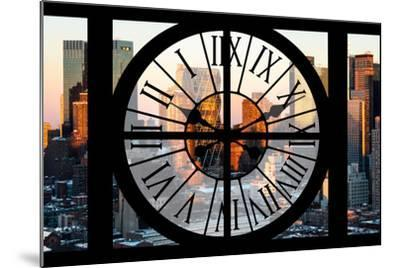 Giant Clock Window - View of Hell's Kitchen in Winter - Manhattan-Philippe Hugonnard-Mounted Photographic Print