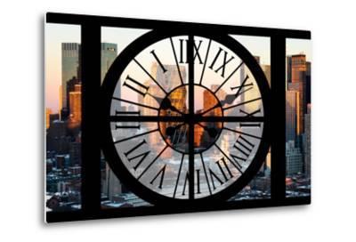 Giant Clock Window - View of Hell's Kitchen in Winter - Manhattan-Philippe Hugonnard-Metal Print