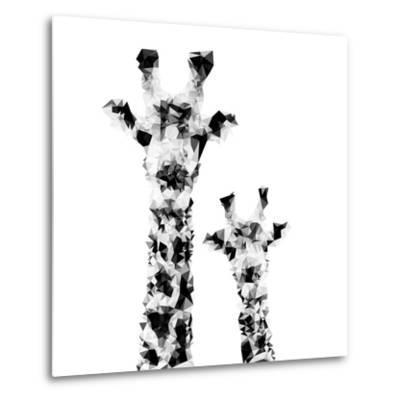 Low Poly Safari Art - Giraffes - White Edition II-Philippe Hugonnard-Metal Print