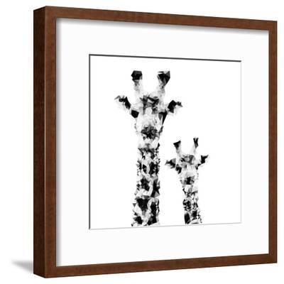 Low Poly Safari Art - Giraffes - White Edition II-Philippe Hugonnard-Framed Art Print
