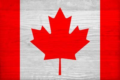 Canada Flag Design with Wood Patterning - Flags of the World Series-Philippe Hugonnard-Framed Art Print