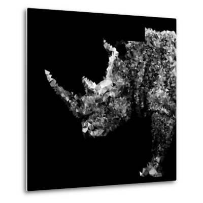 Low Poly Safari Art - Rhino - Black Edition-Philippe Hugonnard-Metal Print