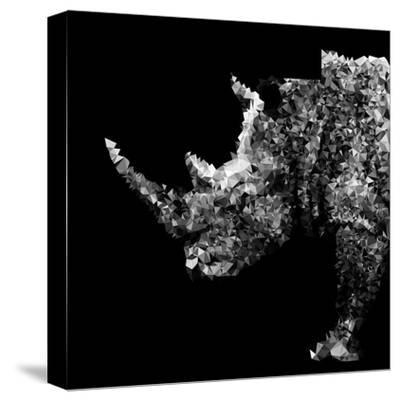 Low Poly Safari Art - Rhino - Black Edition-Philippe Hugonnard-Stretched Canvas Print