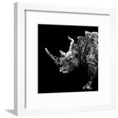 Low Poly Safari Art - Rhino - Black Edition-Philippe Hugonnard-Framed Art Print