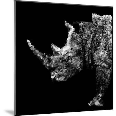 Low Poly Safari Art - Rhino - Black Edition-Philippe Hugonnard-Mounted Art Print