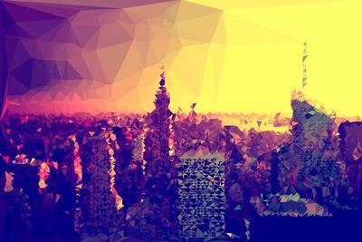 Low Poly New York Art - Manhattan Golden Sunset-Philippe Hugonnard-Framed Art Print
