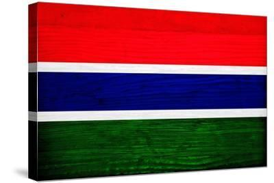 Gambia Flag Design with Wood Patterning - Flags of the World Series-Philippe Hugonnard-Stretched Canvas Print