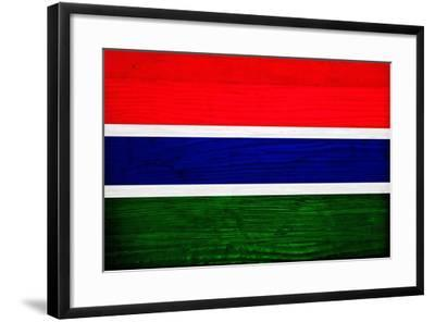 Gambia Flag Design with Wood Patterning - Flags of the World Series-Philippe Hugonnard-Framed Art Print