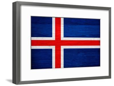Iceland Flag Design with Wood Patterning - Flags of the World Series-Philippe Hugonnard-Framed Art Print