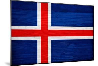 Iceland Flag Design with Wood Patterning - Flags of the World Series-Philippe Hugonnard-Mounted Art Print