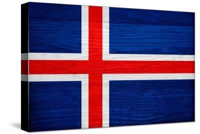 Iceland Flag Design with Wood Patterning - Flags of the World Series-Philippe Hugonnard-Stretched Canvas Print
