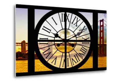 Giant Clock Window - View of the Golden Gate Bridge at Sunset - San Francisco-Philippe Hugonnard-Metal Print
