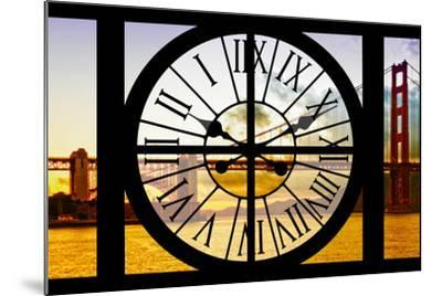 Giant Clock Window - View of the Golden Gate Bridge at Sunset - San Francisco-Philippe Hugonnard-Mounted Photographic Print