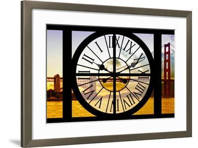 Giant Clock Window - View of the Golden Gate Bridge at Sunset - San Francisco-Philippe Hugonnard-Framed Photographic Print