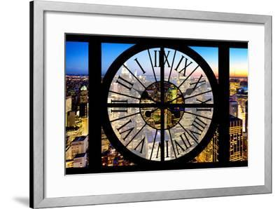Giant Clock Window - View of Manhattan by Night-Philippe Hugonnard-Framed Photographic Print