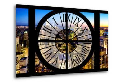 Giant Clock Window - View of Manhattan by Night-Philippe Hugonnard-Metal Print