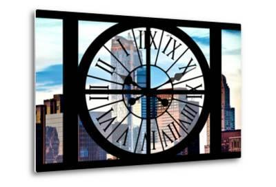 Giant Clock Window - View of Manhattan Skyscrapers-Philippe Hugonnard-Metal Print