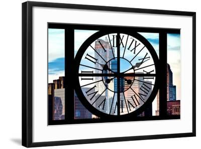 Giant Clock Window - View of Manhattan Skyscrapers-Philippe Hugonnard-Framed Photographic Print
