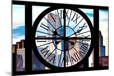 Giant Clock Window - View of Manhattan Skyscrapers-Philippe Hugonnard-Mounted Photographic Print