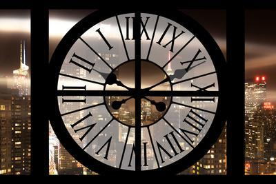 Giant Clock Window - View on Manhattan by Night IV-Philippe Hugonnard-Framed Photographic Print