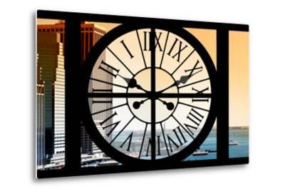 Giant Clock Window - View on the New York City - East River at Sunset-Philippe Hugonnard-Metal Print