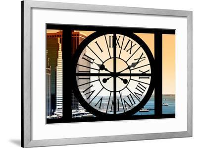 Giant Clock Window - View on the New York City - East River at Sunset-Philippe Hugonnard-Framed Photographic Print