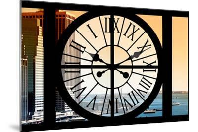 Giant Clock Window - View on the New York City - East River at Sunset-Philippe Hugonnard-Mounted Photographic Print