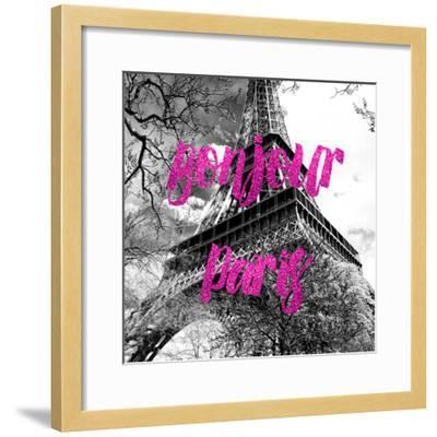 Paris Fashion Series - Bonjour Paris - Eiffel Tower II-Philippe Hugonnard-Framed Photographic Print