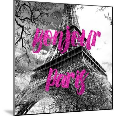 Paris Fashion Series - Bonjour Paris - Eiffel Tower II-Philippe Hugonnard-Mounted Photographic Print
