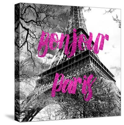 Paris Fashion Series - Bonjour Paris - Eiffel Tower II-Philippe Hugonnard-Stretched Canvas Print