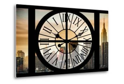 Giant Clock Window - View on the New York City - Golden Sunset-Philippe Hugonnard-Metal Print