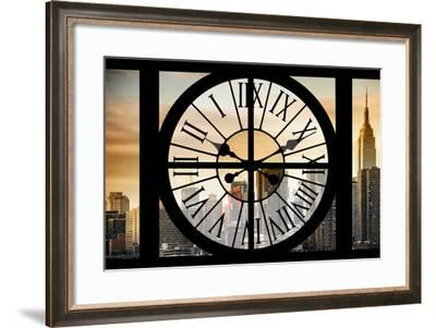 Giant Clock Window - View on the New York City - Golden Sunset-Philippe Hugonnard-Framed Photographic Print
