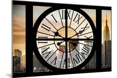 Giant Clock Window - View on the New York City - Golden Sunset-Philippe Hugonnard-Mounted Photographic Print
