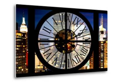 Giant Clock Window - View of Manhattan with the Empire State Building III-Philippe Hugonnard-Metal Print