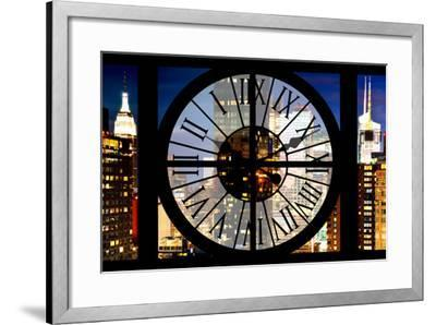 Giant Clock Window - View of Manhattan with the Empire State Building III-Philippe Hugonnard-Framed Photographic Print