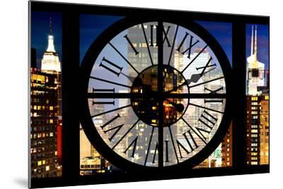 Giant Clock Window - View of Manhattan with the Empire State Building III-Philippe Hugonnard-Mounted Photographic Print