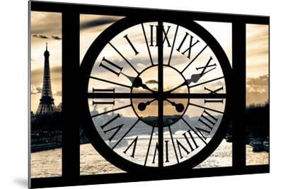 Giant Clock Window - View on Paris at Sunset-Philippe Hugonnard-Mounted Photographic Print