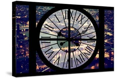 Giant Clock Window - View on the City of London by Night IX-Philippe Hugonnard-Stretched Canvas Print
