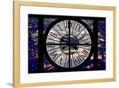 Giant Clock Window - View on the City of London by Night IX-Philippe Hugonnard-Framed Photographic Print