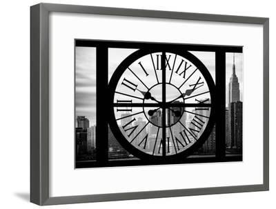 Giant Clock Window - View on the New York City - The Empire State-Philippe Hugonnard-Framed Photographic Print