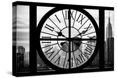 Giant Clock Window - View on the New York City - The Empire State-Philippe Hugonnard-Stretched Canvas Print