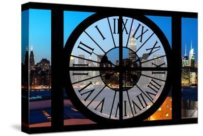 Giant Clock Window - View on the New York Skyline at Dusk II-Philippe Hugonnard-Stretched Canvas Print