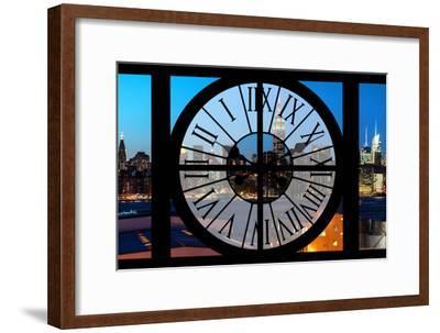 Giant Clock Window - View on the New York Skyline at Dusk II-Philippe Hugonnard-Framed Photographic Print